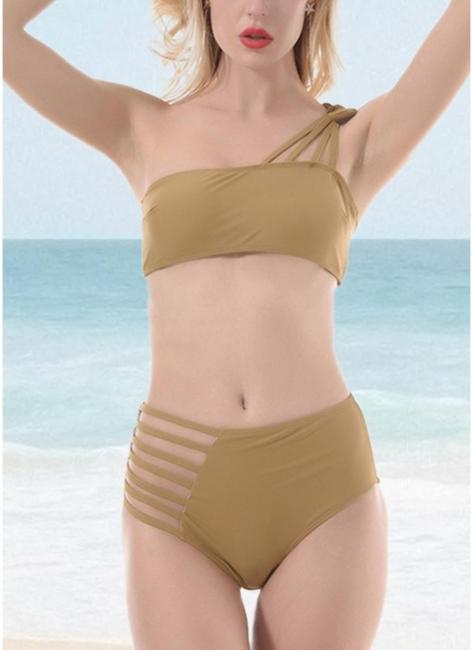 Women One Shoulder Hollow Out Side Bodycon High Waist Padded Wireless Tank Top Bikini Set UK