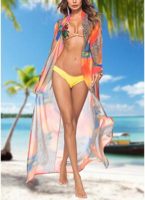 Women Leopard Print Chiffon Cardigan Bikini UK CoverUp Beach Bohemian Outwear Maxi Coverups