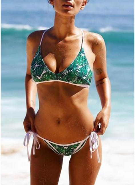 Women Strappy Print Bikini Set UK Sexy Backless Swimsuits UK Bathing Suit UK Beach Bathing Suit UK