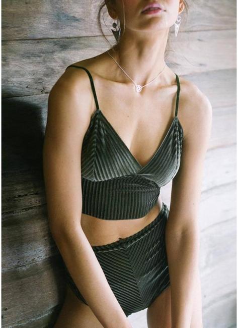 Solid High Waist Velvet Sexy V-Neck Bikini Set