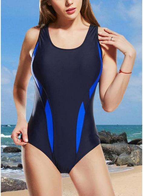 Women One-Piece Swimsuits UK Color Splice Sleeveless Padding Wireless Bathing Suit UK Beach Wear