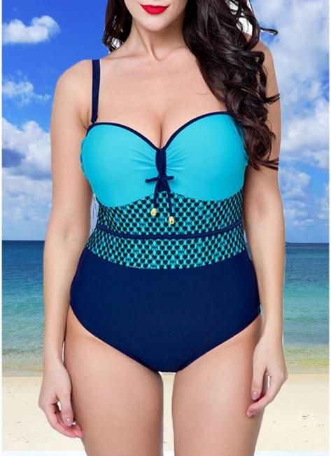 Modern Women Swimsuit One Piece Swimwear Color Splice Ruched Underwire Swimsuit Beach Wear