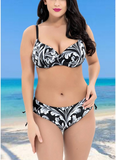 Big Contrast Floral Underwire Triangular Bikini Set UK