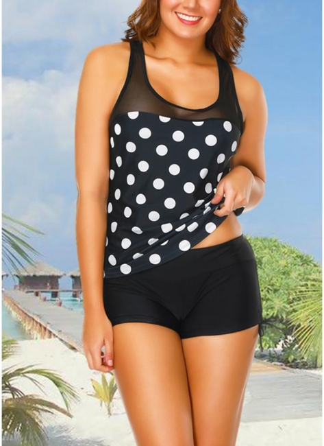 Sport Tank Top Boxer Polka Polka dots Print Racer Back Wireless Push Up Tank top Set