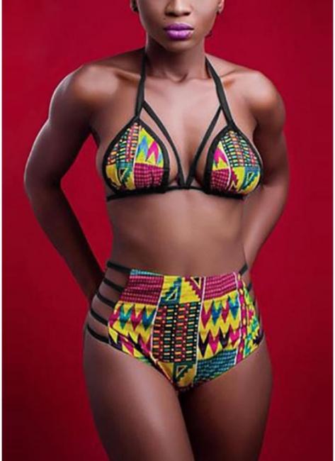 Womens Bikini Set Printed Bathing Suit Swimsuit Padded Tank top Swimsuit Swimwear