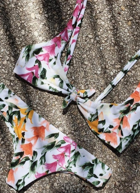 Womens Front Tie Push Up Flower Printed Beach Bikini Set