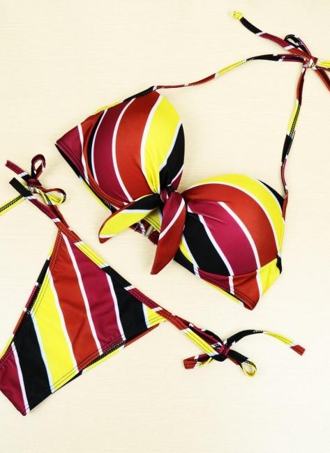 Contrast Stripe Underwire Padded Cup Tie Bikini Set UK Bathing Suit UK