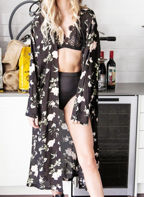 Chiffon Floral Slit Hem Sexy Open Front Long Sleeve Women's Long Kimono