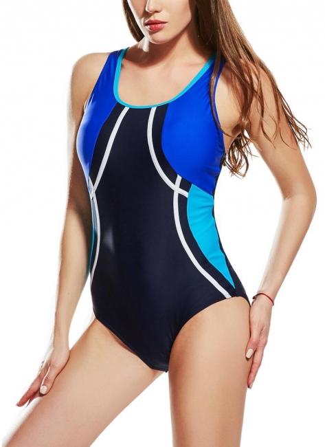 Modern Women Sporty One Piece Swimsuit Racer Back Contrast Splicing Padded Swimwear Playsuit