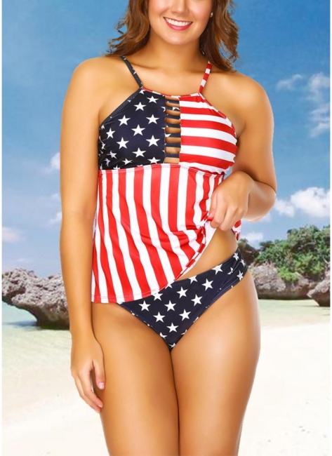 Plus Size Stars Stripes Print Hollow Out Front Bikini Set