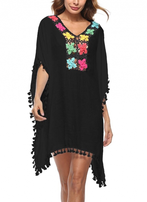 Crochet Lace Hollow Out Bohemian Loose Beach Wear Cover-up