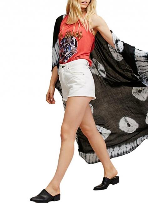 Print Chiffon Longline Loose Contrast Kimono