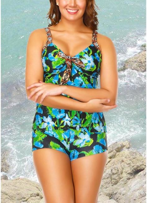 Floral Strap Tankini Top Shorts Set Bathing