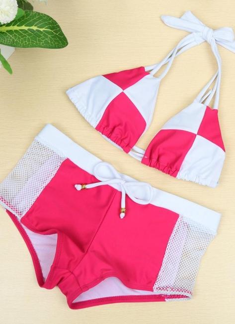 Hot Color Block Halter Padded Tank Top Rose Bikini Set UK