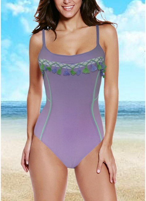 Women One-piece Bathing Suit UK Fringed Tassels Crisscross Bodycon Monokini Swimsuits UK Bathing Suit UK