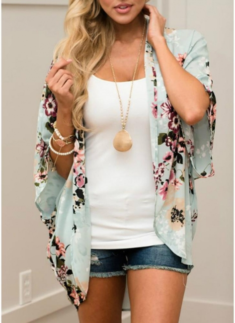 Summer Women Floral Chiffon Cardigan Sexy Open Front Half Sleeve Kimono