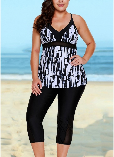Retro Women Tankini Capris Deep V Printed Cross Over Sexy Backless Bathing Suit UK