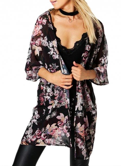 Fashion Chiffon Loose Cardigan Front Floral Retro Women's Kimono