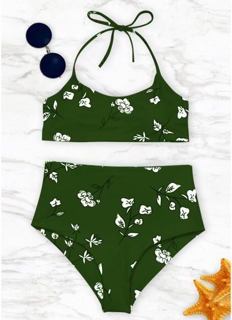 Womens Bathing Suit Printed Halter Bandage Sexy Open Back Swimsuit Beach Wear Bikini Set