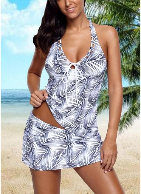 Hot Women Tank Top Bathing Suit UK Tankini Set with Leaves Printed Bodycon Halter Skirt Swimsuits UK Bathing Suit UK