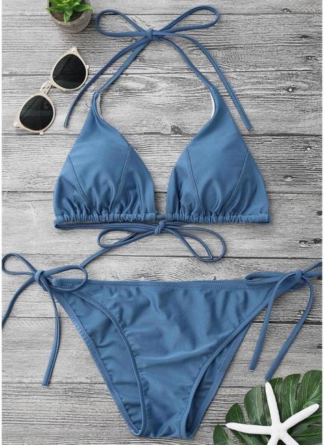 Solid Color Halter Bodycon Tie Bikini Set UK