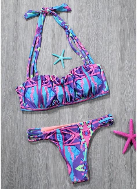 Hot Women Strappy Halter Bikini Set UK Contrast Print Sexy Backless Low Waist Cutout Thong Biquini Swimsuits UK Bathing Suit UK