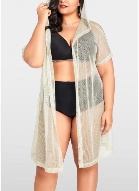 Modern Women Bikini Cover Up Fishnet Hooded Cardigan Plus Size Outerwear Beachwear
