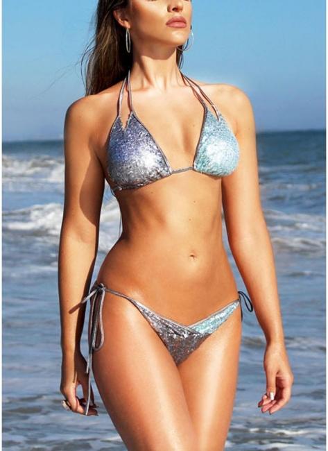 Women Sequined Double Strap Halter Bikini Set UK Tie Waist