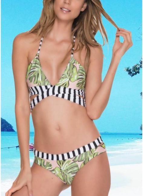 Leaf Striped Halter Tie Back Padded Bikini Set