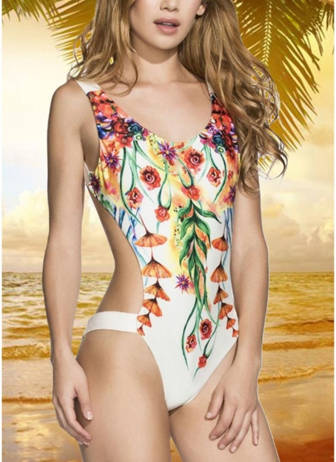 Printed V Neck Sexy Open Back Padded Monokini