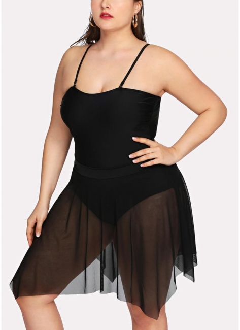 Modern Women Asymmetric Mesh Swim Dress Set