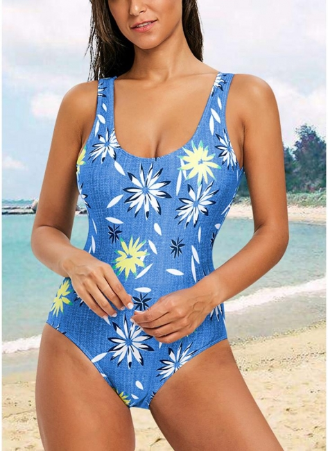 Womens One-Piece Swimsuit Sexy Open Back High Cut Contrast Print