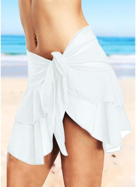 Sheer Mesh Ruffles Solid Color Bikini UK Skirt