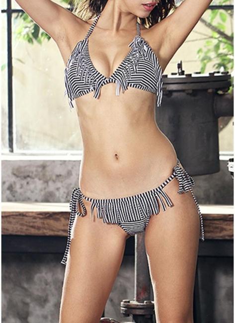 Womens Bathing Suit Striped Halter Bandage Sexy Open Back Tassel Swimsuit Beach Wear Bikini Set