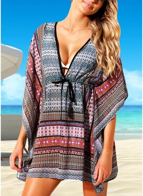 Women Beach Cover Up Dress Bohemian Geometric Print V-Neck Loose Swimsuits UK
