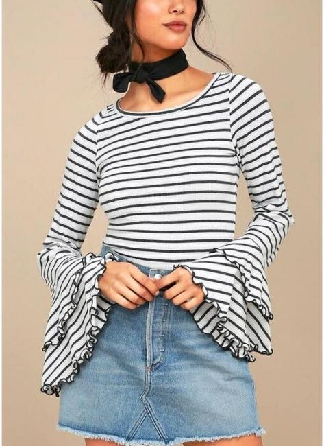 Modern Women Stripe T-shirt Flare Sleeve Round Neck Layer Tops Blouse