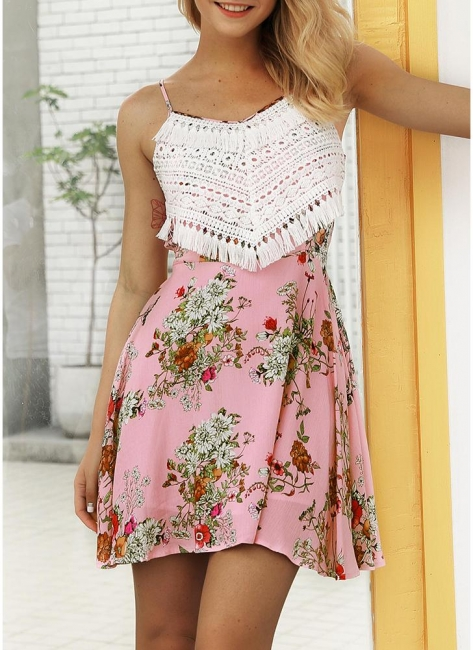 Modern Women Floral Tassels Mini Dress Tie Back Backless Party Beach Dress