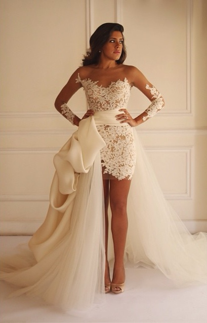 Long Sleeve Lace Short Bridal Gown with Detachable Train New Arrival Wedding Dress