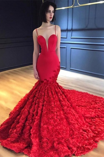 Luxury Red Flowers Mermaid Gorgeous Prom Dresses  | Sexy Spaghetti Straps Backless Evening Dress