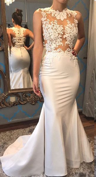 Floral Lace Appliques Mermaid Evening Dress Sleeveless Sheer Sexy Prom Dress  FB0073