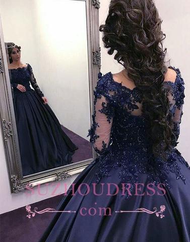 Elegant Dark Navy Long Sleeves Evening Dresses |  Off the Shoulder Ball Gown Prom Dresses