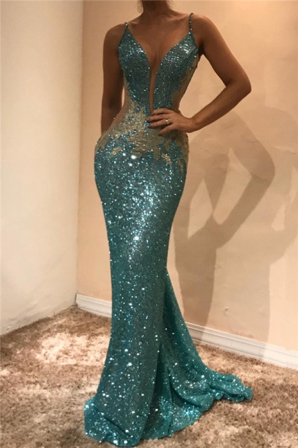 Shiny Sequins V-neck  Prom Dresses  | Appliques Sleeveless Sexy Evening Gown