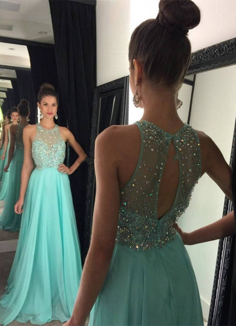 A-Line Crystal Halter  Prom Dress Latest Beading Long Party Dresses