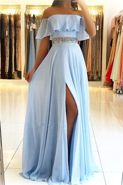 Elegant Strapless Ruffles Sky Blue Prom Dress Chiffon Side Slit Party Dresses with Crystals Belt