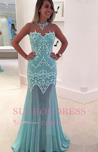 Sexy Appliques High Neck Evening Dress Sleeveless Lace Mermaid Prom Dress