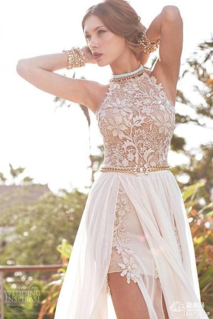 Halter Chiffon Lace Prom Dress with Gold Belt Chiffon Long Evening Dress BA1602