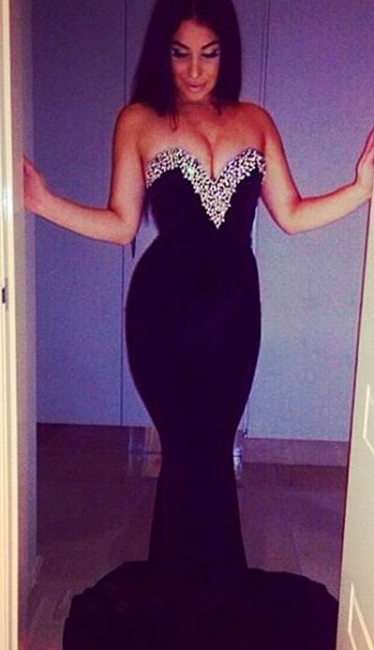 Crystal Sweetheart Mermaid Evening Dress Black Sweep Train  Formal Occasion Dresses