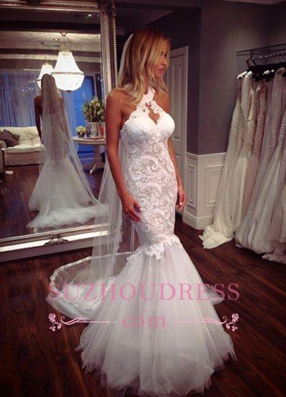 Mermaid Tulle Sleeveless  Bride Dress Halter Elegant Lace Wedding Dress