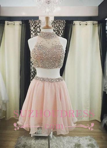 Crystals Two Piece Luxury Halter Hoco Dresses   Short Blush Pink Homecoming Dresses
