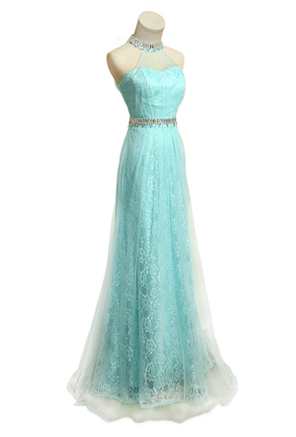 Lace Halter Crystal  Prom Gowns Floor Length Sexy Wonderful Evening Dresses